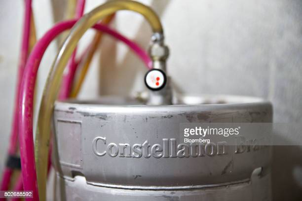 Signage is displayed on a quarter keg of Constellation Brands Inc Modelo beer inside a cooler at a restaurant in Ottawa Illinois US on Tuesday June...