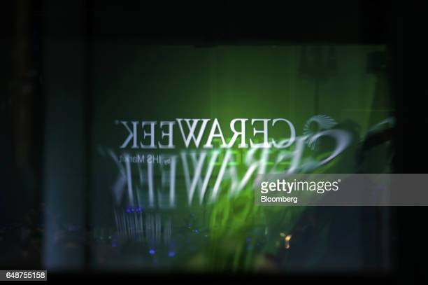 Signage is displayed on a reflective screen prior the 2017 <Menu> to Return to Your Inbox CERAWeek by IHS Markit conference in Houston Texas US on...