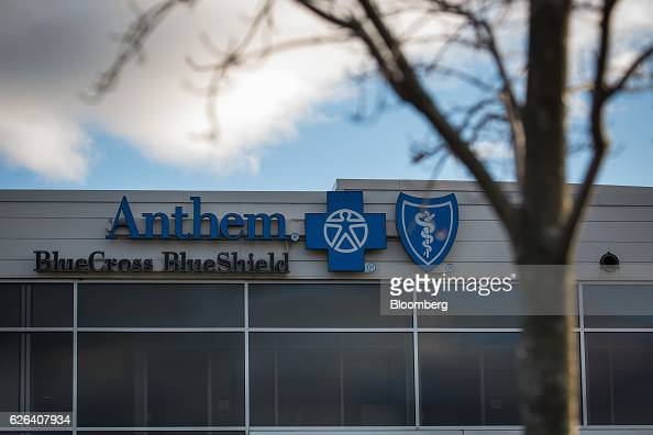 Signage is displayed on the exterior of an Anthem Inc Blue Cross Blue Shield office building in Wallingford Connecticut US on Tuesday Nov 22 2016...