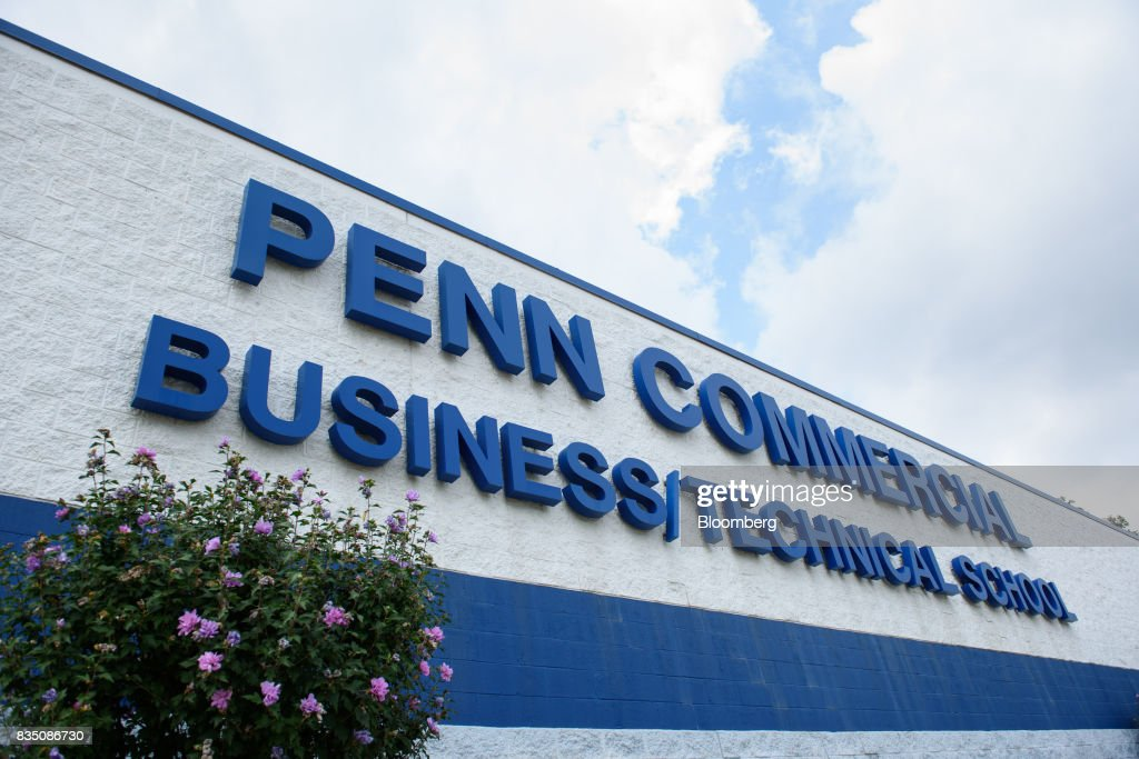 Signage is displayed on the exterior of Penn Commercial Business/Technical School in Washington, Pennsylvania, U.S., on Tuesday, Aug. 15, 2017. While fracking has created a bonanza of jobs, displaced coal miners and their communities are sometimes left out of the boom. Thats because many of the jobs require highly technical skills and are often going to experienced workers brought in from out of state who then move on to the next job without sinking roots. Photographer: Stephanie Strasburg/Bloomberg via Getty Images