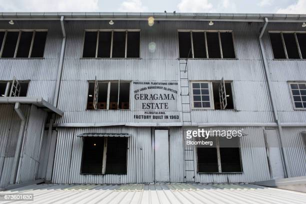 Signage is displayed on the factory exterior of the Geragama Tea Estate operated by Pussellawa Plantations Ltd in Pilimathalawa Central Sri Lanka on...