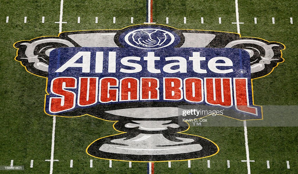 Signage is displayed on the field prior to the Allstate Sugar Bowl between the Florida Gators and the Louisville Cardinals at MercedesBenz Superdome...