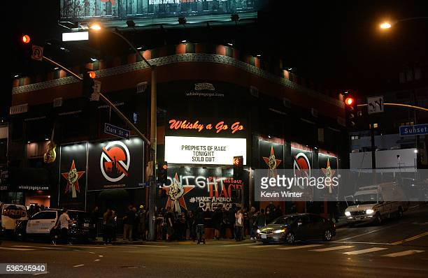 Signage is displayed on the venue during Prophets of Rage at Whisky a Go Go on May 31 2016 in West Hollywood California