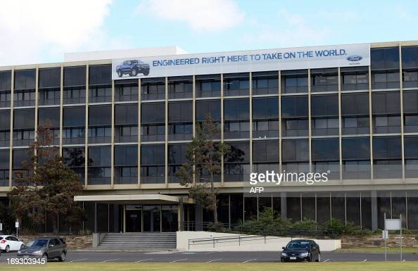 Signage is displayed on top of Ford's head office in Melbourne on May 23 as Ford announced it would cease making vehicles at its unprofitable...