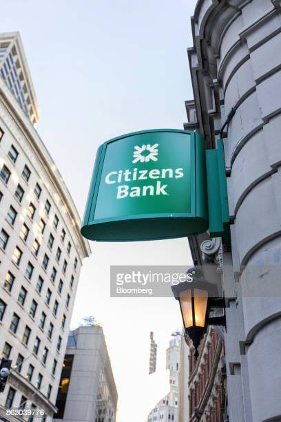 Signage is displayed outside a Citizens Financial Group Inc bank branch in downtown Boston Massachusetts US on Tuesday Oct 10 2017 Citizens Financial...