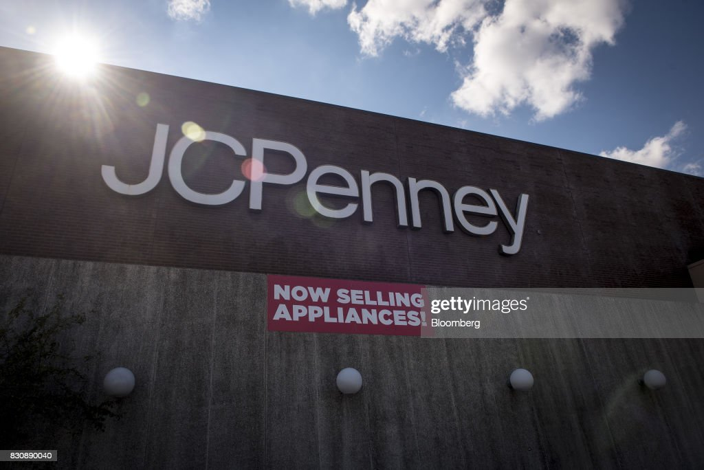 Signage is displayed outside a JC Penney Co. store in Riverside, Illinois, U.S., on Saturday, Aug. 12, 2017. On Friday morning, JC Penney posted a deeper loss than analysts expected -- hurt by clearance sales -- sending the shares on their worst decline in more than four years. Photographer: Christopher Dilts/Bloomberg via Getty Images