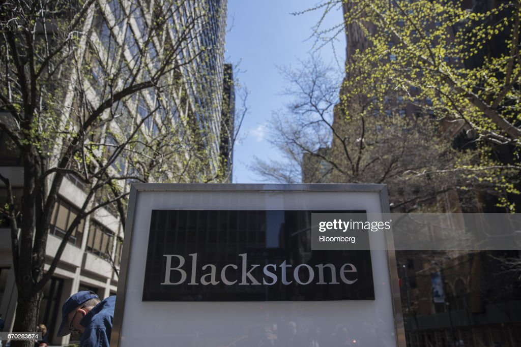 Signage is displayed outside Blackstone Group LP headquarters in New York, U.S., on Friday, April 14, 2017. Blackstone Group LP is scheduled to release earnings figures on April 20. Photograph: Victor J. Blue/Bloomberg via Getty Images