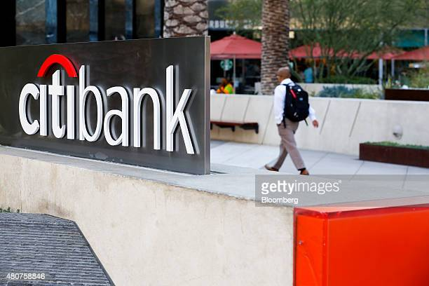 Signage is displayed outside of a Citigroup inc Citibank branch at the Citigroup Center in Los Angeles California US on Monday July 13 2015 Citigroup...