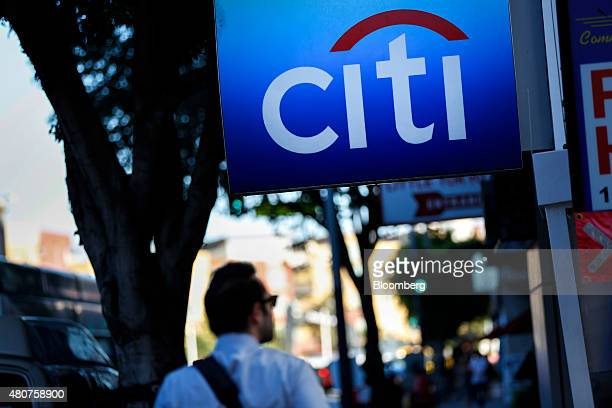 Signage is displayed outside of a Citigroup inc Citibank branch in the Little Tokyo neighborhood of Los Angeles California US on Monday July 13 2015...