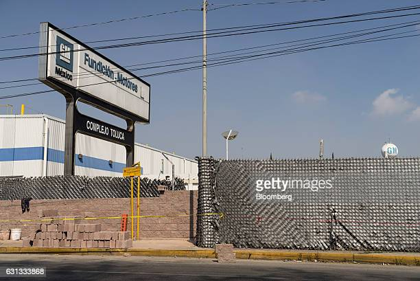 Signage is displayed outside the General Motors Co assembly plant in Toluca de Lerdo Mexico on Saturday Jan 7 2017 Presidentelect Donald Trump...