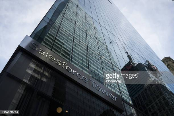 Signage is displayed outside the Salesforce Tower in New York US on Friday April 28 2017 Salesforcecom Inc is scheduled to release earning figures on...