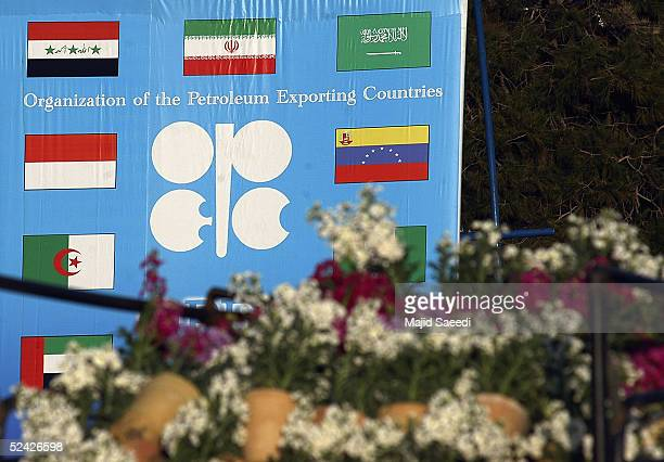 OPEC signage is pictured at the conference complex on March 15 2005 in Isfahan Iran OPEC Ministers are gathering in Isfahan to attend the 135th...