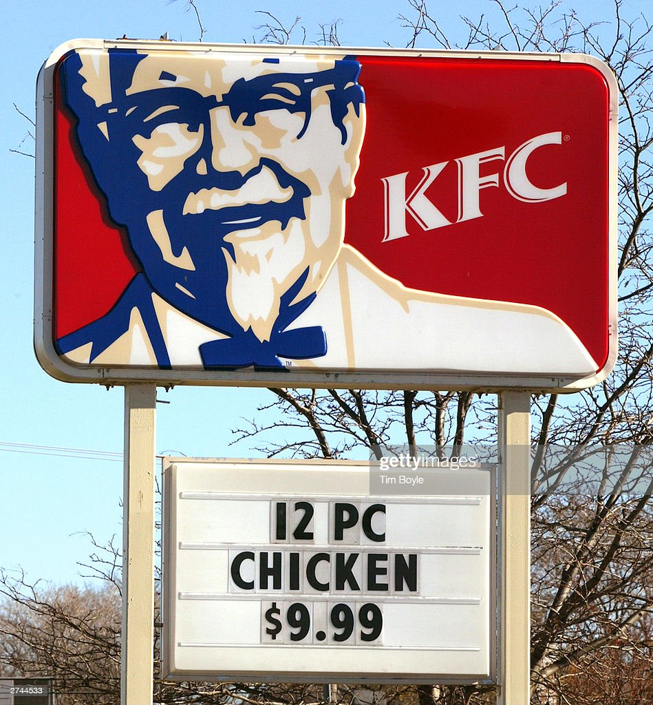 KFC signage is seen at one of its restaurants November 19 2003 in Des Plaines Illinois The healthadvocacy group Center for Science in the Public...