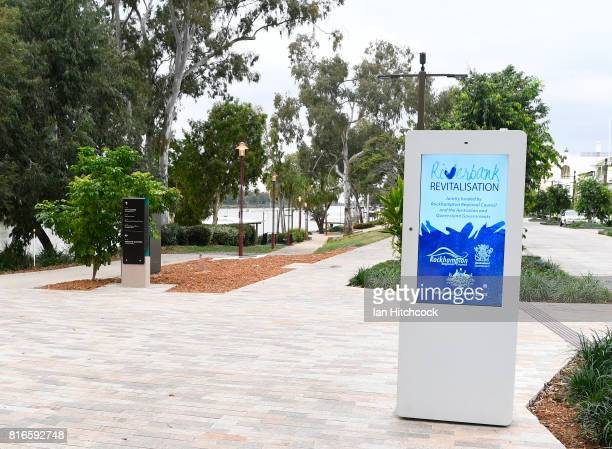 Signage is seen displayig a new redeveloped area along the banks of the Fitzroy river on July 09 2017 in Rockhampton Australia