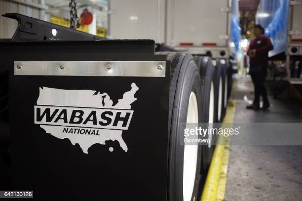 Signage is seen on a mud flap on the factory floor at the Wabash National in Lafayette Indiana US on Tuesday Feb 7 2017 US factory output increased...