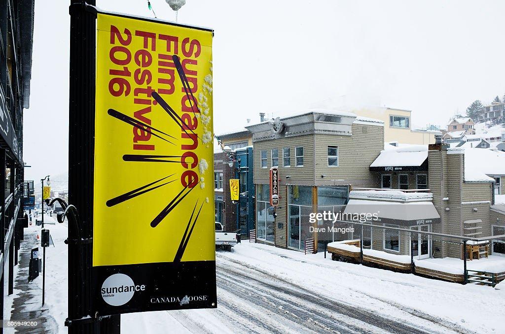 Signage is seen on Main Street before the 2016 Sundance Film Festival on January 20 2016 in Park City Utah