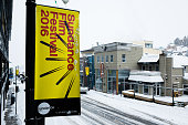Signage is seen on Main Street before the 2016 Sundance Film Festival on January 20 2016 in Park City Utah
