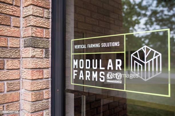 Signage is seen on the door of Modular Farms Co headquarters in Brampton Ontario Canada on Friday Aug 11 2017 The popularity of modular farms is...