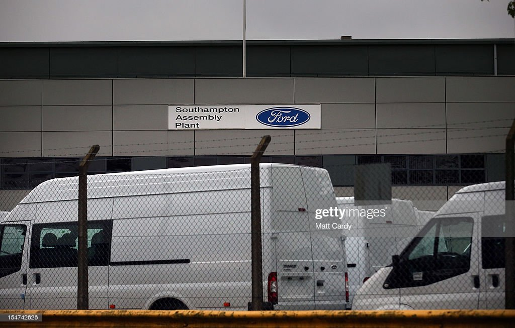 Signage is seen outside the Ford Transit Assembly Plant on October 25, 2012 in Southampton, England. It was announced today that carmaker Ford plans to close two UK plants next year, one in Southampton, which has been making Transit vans since 1972, and one in Dagenham, with the loss of up to 1400 jobs.