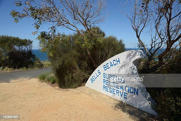Signage marks the entrance to the Bells Beach surfing area in Torquay Australia on Saturday Sept 22 2012 The surfwear brands Rip Curl Group Pty and...