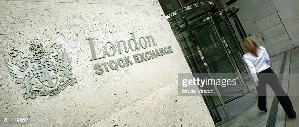 Signage of the new London Stock Exchange is seen on July 27 2004 in London The exchange has moved from the Old Broad Street site to a new city...
