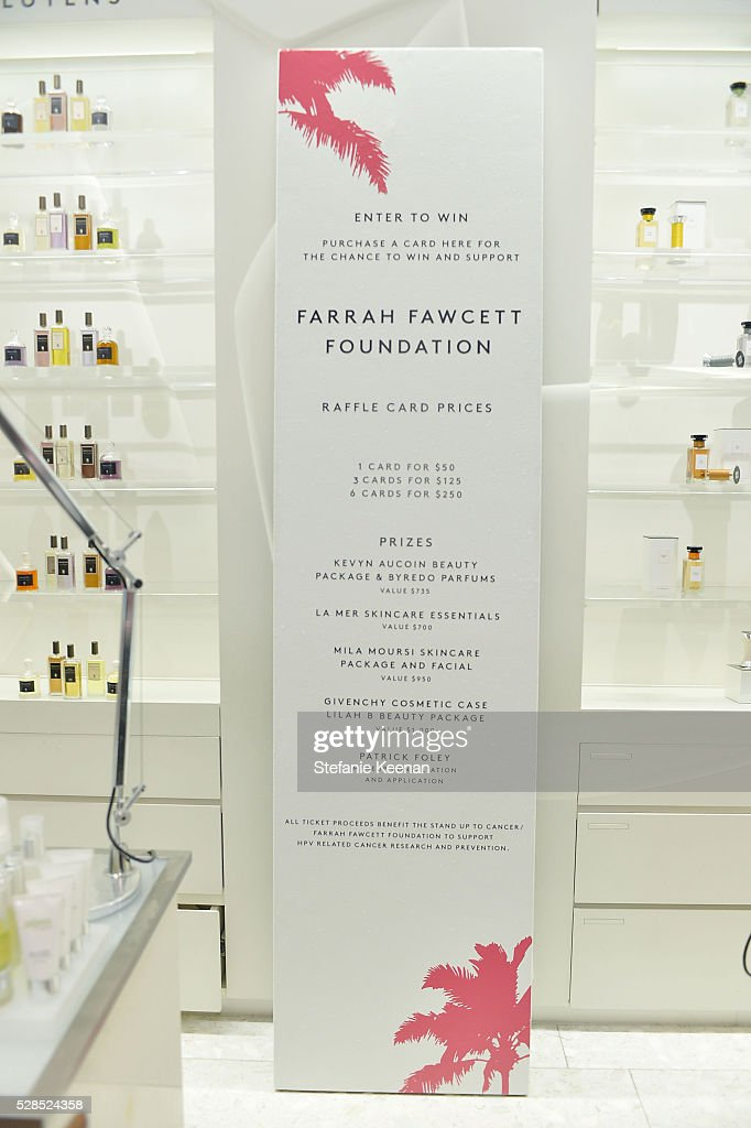 Signage on display at Barneys New York Hosts A Cocktail Party In Support Of The Farrah Fawcett Foundation at Barneys New York Beverly Hills on May 5, 2016 in Beverly Hills, California.