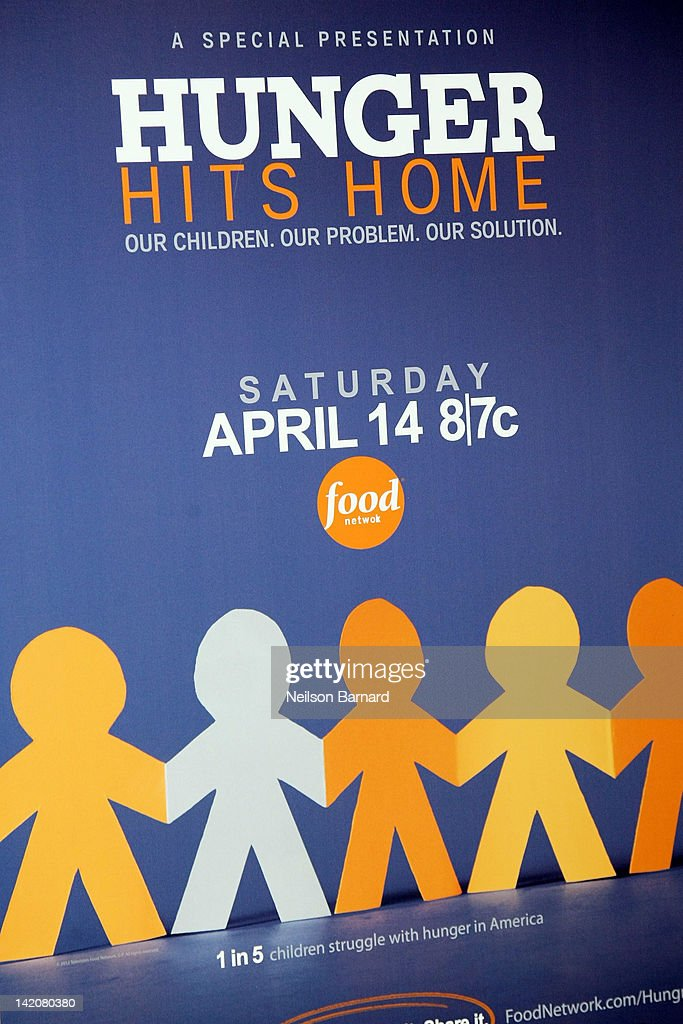 Signage on display at the 'Hunger Hits Home' screening at the Hearst Screening Room on March 29, 2012 in New York City.