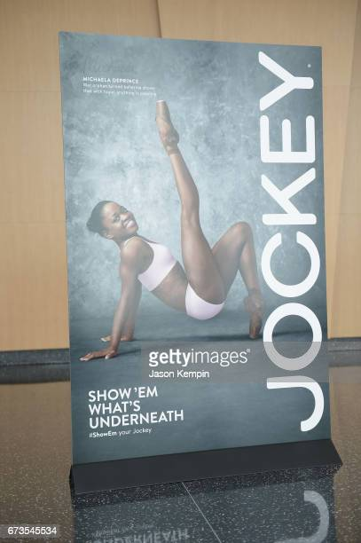 Signage on display at the Jockey 'Show'Em What's Underneath Show'Em Your Jockey' Event in NYC at One World Observatory on April 26 2017 in New York...