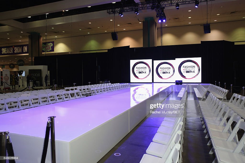 Signage on display at the runway at the Fashion & Beauty @ BETX sponsored by Progressive fashion show during the 2016 BET Experience on June 25, 2016 in Los Angeles, California.