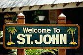 A signage on display, St. John, U.S. Virgin Islands