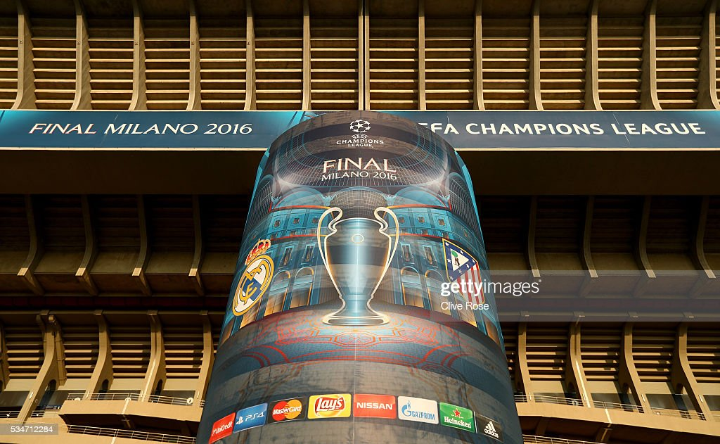 Signage on exterior of the stadium Stadio Giuseppe Meazza on the eve of the UEFA Champions League Final between Real Madrid and Atletico de Madrid at Stadio Giuseppe Meazza on May 27, 2016 in Milan, Italy.