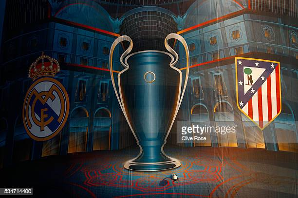 Signage on exterior of the stadium Stadio Giuseppe Meazza on the eve of the UEFA Champions League Final between Real Madrid and Atletico de Madrid at...