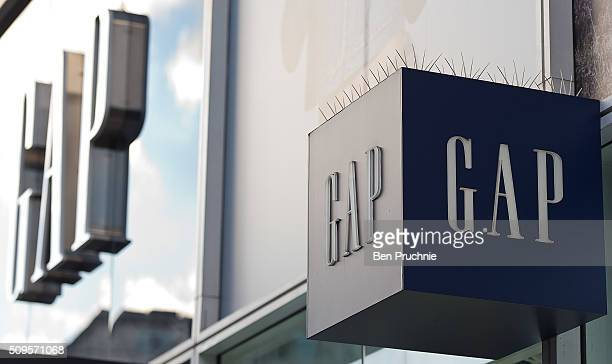 Signage on the exterior of fashion retailer Gap's Oxford Street store on February 11 2016 in London The American clothing retailer with a turnover of...
