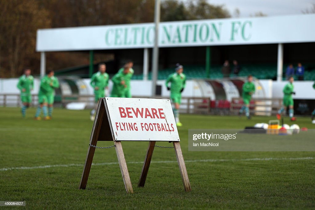 CARLISLE, ENGLAND - NOVEMBER 16 Signage on the pitch as players warm up during the Ebac Division One football match between Celtic Nation and Hebburn Town on November 16, 2013 at Gillford Park in Carlisle, England.