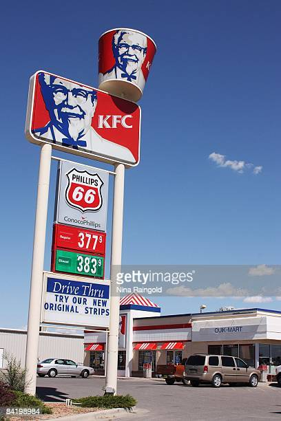 Signage outside the Drive Thru KFC in Bloomfield situated near the Four Corners Area on Highway 550 on September 14 2008 in New Mexico