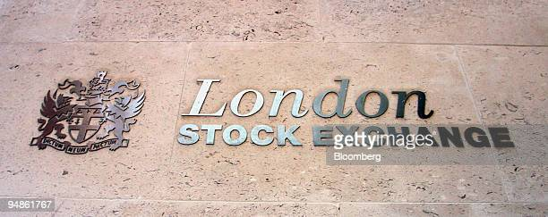 Signage seen outside the new London Stock Exchange building in Paternoster Square London Friday December 17 2004 Deutsche Boerse AG seeking to win...