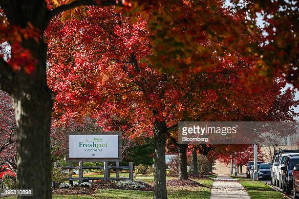 Signage stands at the entrance to the Freshpet Inc production facility in Bethlehem Pennsylvania US on Monday Nov 9 2015 Freshpet produces the only...