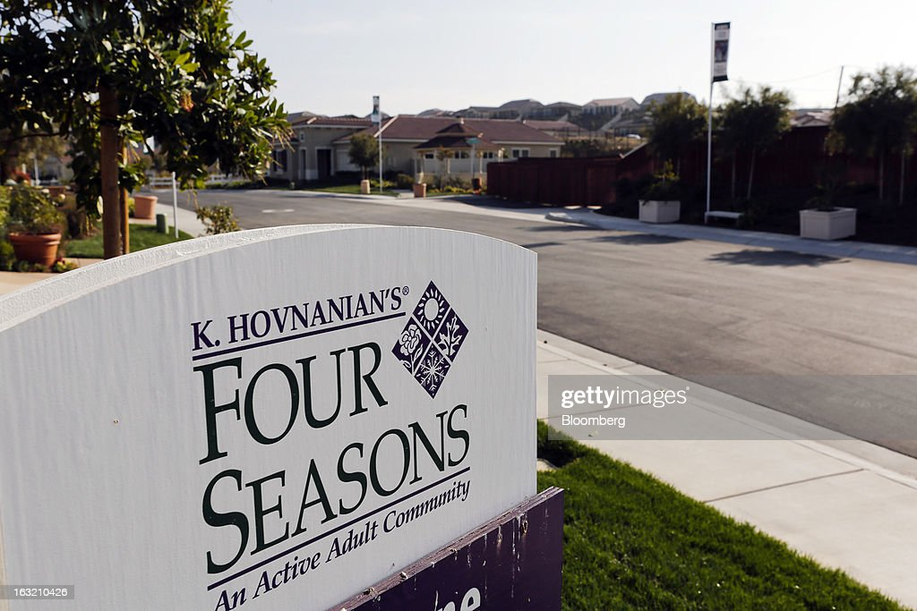 Signage stands at the Hovnanian Enterprises Inc.'s Four Seasons housing development in Beaumont, California, U.S., on Monday, March 4, 2013. Hovnanian Enterprises Inc., the best-performing U.S. homebuilder stock in the past 12 months, reported a narrower loss for its fiscal first quarter as sales and orders increased amid a housing rebound. Photographer: Patrick T. Fallon/Bloomberg via Getty Images