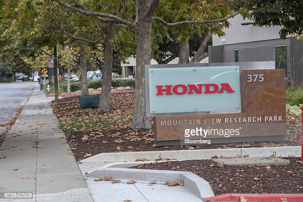 Signage stands on display outside the Honda Motor Co Silicon Valley Lab in Mountain View California US on Tuesday Nov 15 2016 According to Toshiaki...