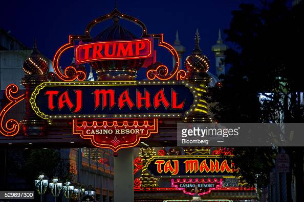 stands outside the Trump Taj Mahal casino and hotel owned by Trump ...