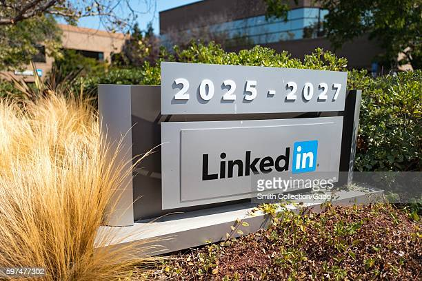 Signage with logo at the headquarters of professional social networking company LinkedIn in the Silicon Valley town of Mountain View California...