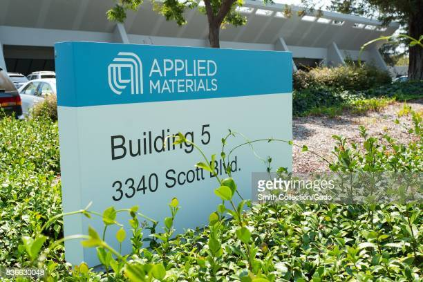 Signage with logo at the Silicon Valley headquarters of semiconductor company Applied Materials Santa Clara California August 17 2017