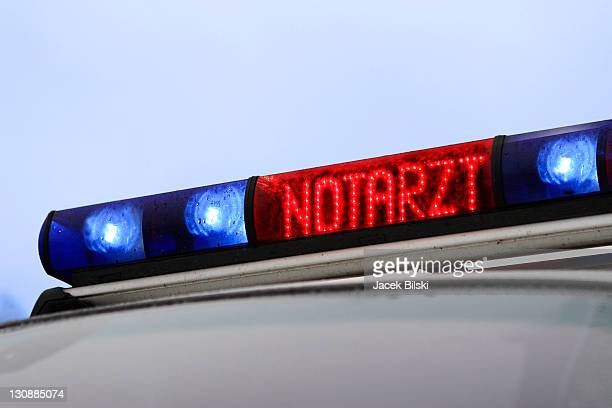 Signal equipment and sign NOTARZT ( emergency physician ) on an ambulance