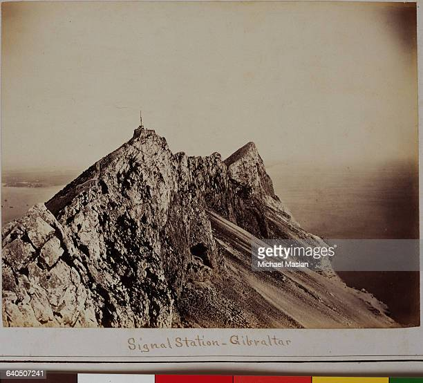 Signal station on the Rock of Gibraltar a large limestone hill Gibraltar is a British Crown Colony in southern Spain Ca 1890