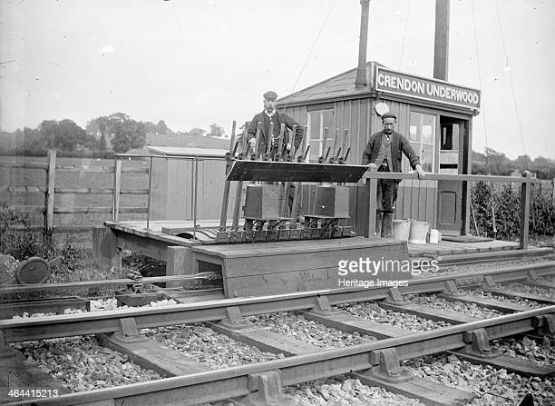 Signalmen pose outside a signal box near Grendon Underwood Buckinghamshire c1872c1923