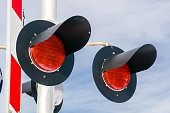 Close up of Signals at a Railroad Crossing with Cloudy Sky in Background