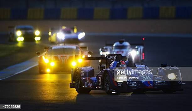 Signatech Alpine driven by Nelson Panciatici PaulLoup Chatin and Vincent Capillaire during the Le Mans 24 Hour race at the Circuit de la Sarthe on...
