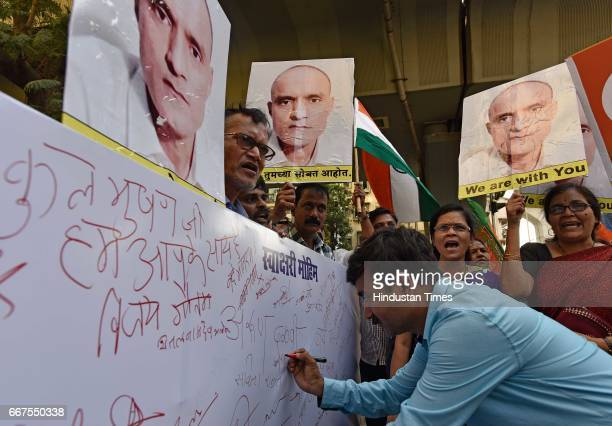 Signature campaign organised by BJP workers to support Kulbhushan Jadhav at Bharatmata Junction Curry Road on April 11 2017 in Mumbai India...