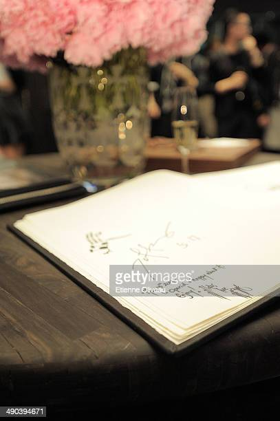 Signature of owner and designer of Chrome Hearts Richard Stark in the guest book during the Chrome Hearts Beijing Store Opening on May 14 2014 in...
