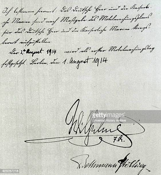 Signature of Vilhelm II av Tyskland a German Emperor and King of Prussia Dated 20th Century